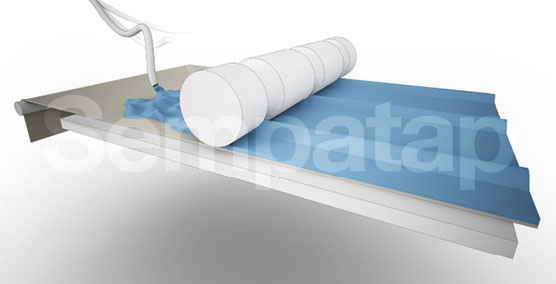 Herstellungsverfahren Sempatap: Schaumbildung und Kalandrieren Form