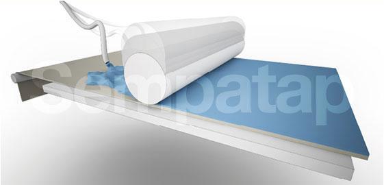 Herstellungsverfahren Sempatap: Schaumbildung und Kalandrieren Höhe