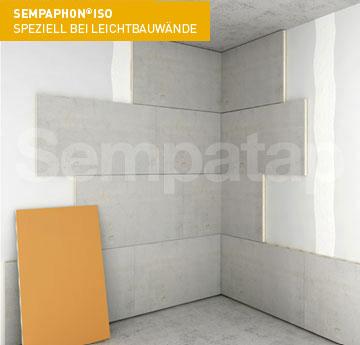 Die Lösung zur Schall- und Wärmedämmung SempaPhon ISO ist ideal für die Wandmontage auf leichten Trennwänden.