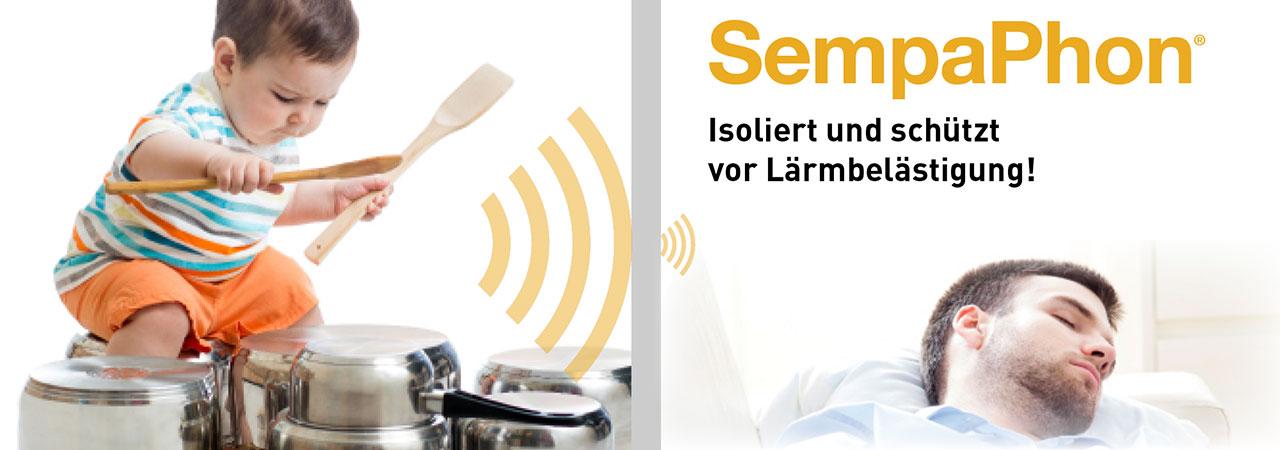 SempaPhon, ein Schall- und Wärmedämmstoff für Innenwände, isoliert und schützt gegen Lärmbelästigungen.
